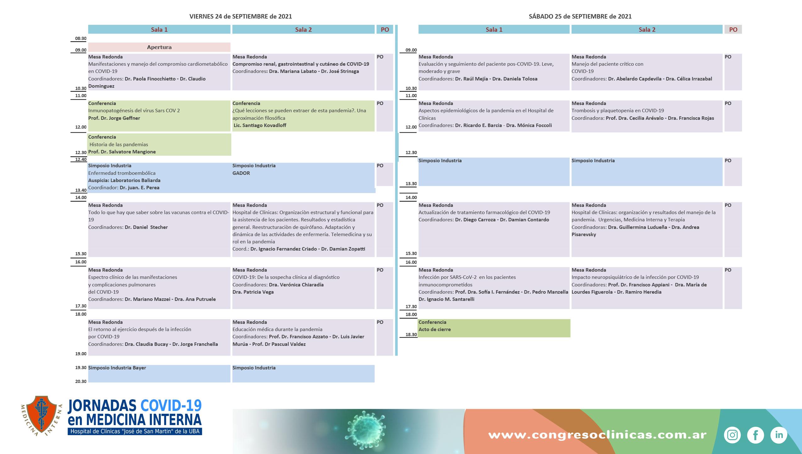 Jornadas COVID-19 en Medicina Interna-Organigrama Científico